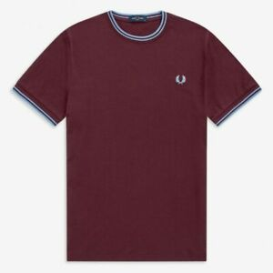 Fred Perry M1588 Twin Tipped T Shirt Mahogany, Mod Ska, Scooter, SALE
