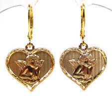 SoHo® Ohrhänger Ohrringe Messing vergoldet Putte Engel Herz Gott schütze dich