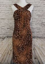 NWT David Meister Size 10 Cross Front Ruched Dress Jersey Animal Giraffe Print