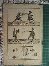 c1750 ANTIQUE PRINT ~ ESCRIME FENCING SWORDS EQUIPMENT