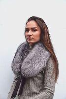 Luxury Saga Furs Silver Fox Fur Women's Furry Collar Scarf Shawl Wrap Neck