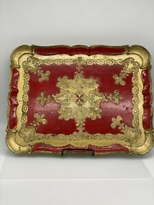 Vintage Florentine Toleware Wood Tray Gold & Red Made in Italy Ornate Decor