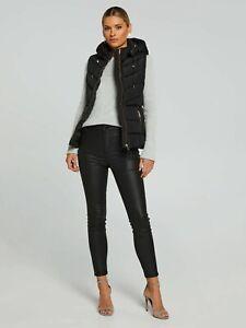 Portmans Women Hooded Down Vicky Puffer Vest Winter Jacket-BLACK RRP150$ GENUINE