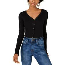 Planet Gold Womens Ribbed Knit V-Neck Button-Down Top Shirt Juniors BHFO 6715