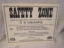 Pennsylvania Game Commission Safety Zone Poster VGC Free Ship