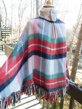 Vintage circa 70's Red Green Navy Blue handmade Plaid Poncho fringe Jacket os