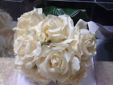 "Soft Touch Silk Wedding Flowers Hand Tied Cream Rose Bouquet 11"" Bridal New NIB"