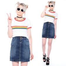 Vtg 90s L.E.I. Jeans Denim Grunge Club-Kid Rave High-Waist Pencil Mini Skirt L