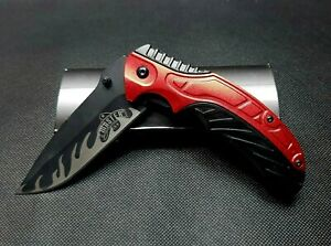 """MTech USA Master 8.5"""" Black Flame Blade Red Tactical EDC Spring Assist Knife"""