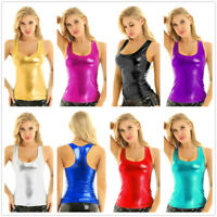 Women Shiny Tank Top Camisole Metallic Deep U Sleeveless Blouse Vest Club Party