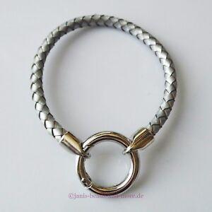 Easy Clip Leder Armband geflochten Unisex 19 cm Silbergrau