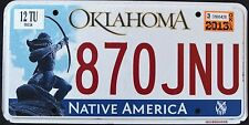 "OKLAHOMA "" NATIVE AMERICA - INDIAN - 870 JNU "" 2013 OK Graphic License Plate"