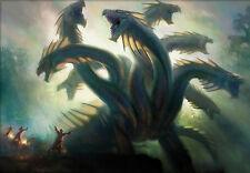 Encadrée imprimer - 3 assistants battling a 8 dirigé Dragon Hydra (Photo Poster art)