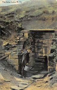 H65/ Grafton West Virginia Postcard c1910  Trap Spring Man Bucket 25