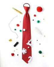 $225 NOEL Men RED UGLY CHRISTMAS ZIP TIE KIT SLIM CLASSIC ZIPPER NECKTIE 50x3.25
