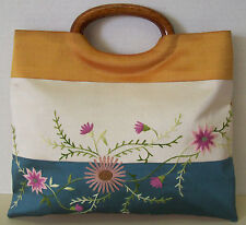 Elegant Floral Embroidery Stitched Flower Design Handbag Wood Handle Tote Purse