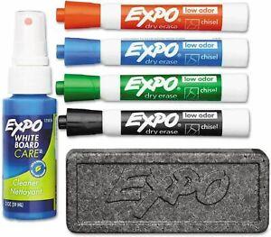 Expo Dry Erase Marker Set White Board Eraser Cleaner Chisel Tip Low Odor Ink