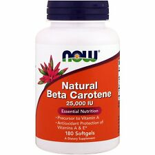 Natural Beta Carotene - 180 - 25,000IU Softgels by Now Foods - Antioxidant