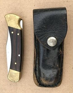 Buck 4-Dot 110 Lockback Hunter Folding Knife w/ Buck Sheath ca 1981-86