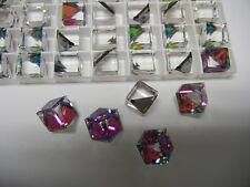 12 swarovski crystal 3/4 flatback cubes,10mm vitrail medium Z #4841
