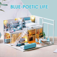 3D DIY Wooden Dollhouse Miniature Furniture Doll House LED Light Kids Toys Gift