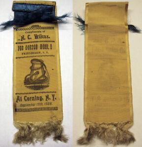 1888 Fireman Parade Ribbon Joe Gorton Hose Co. Friendship NY