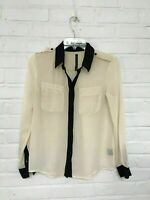 FLASH SALE - W118 Walter Baker Cream Black Button Down Sheer Formal Blouse - XS