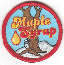 """MAPLE SYRUP"" PATCH - Iron On Embroidered Applique /Food, Topping, Treat, Words"