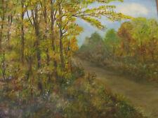 Vintage Eleanor Mueller Rural Wisconsin Landscape Oil on Board Painting Signed!