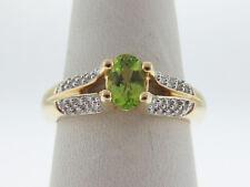 Natural Vibrant Green Peridot Diamonds Solid 14K Two-Tone Gold Ring FREE Sizing