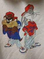 Vintage 90s Looney Tunes Sweatshirt Taz Bugs Bunny Double Sided Hip Hop Gangster