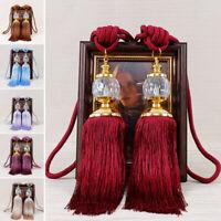 2PCS Luxury Curtain Holdbacks Rope Tie Backs Tassel Tiebacks Beaded Ball Decor