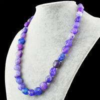 545.00 Cts Earth Mined 20 Inches Long Purple Onyx Beads Single Strand Necklace