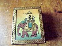 Vintage Brass Bound Wooden Trinket  Box with Elephant Decoration