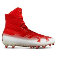 Size 10 Under Armour Highlight MC 3000177-601 Red Football Cleats, Men's