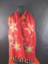 Taj Wood Scherer Schal Scarf Schal rot mit Filz Blüten Halstuch 1903-262