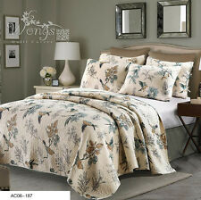 Birds Patchwork Quilted Bedspreads Set Coverlet Blanket Queen/King Size Throw