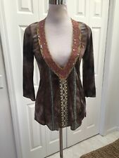 NWT Gypsy Daisy Brown Lace V Neck 3/4 Sleeve Boho L