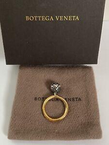 NIB Bottega Veneta Intrecciato Ball Sterling Silver Yellow Gold Ring Sz 11 US 6