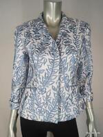 Lafayette 148 Jacket Blazer $548 Sz 2 XS White Blue Linen Embroidered 3/4 Sleeve