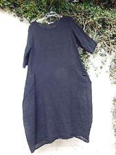 "CRUSHED LINEN BALLOON DRESS JET BLACK 44"" BUST BNWT LAGENLOOK ETHNIC ARTY"