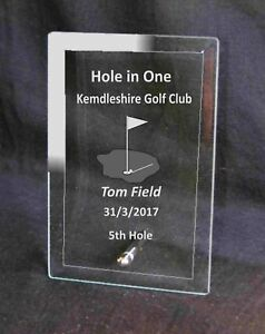 Engraved Hole in One Golf Award Plaque Trophy