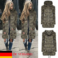 Damen Trenchcoat Freizeit Strick Kaputze Camouflage Winter Coat Mantel Windjacke