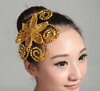 Women Girl Dance Big Bling Sequined Party Hair Wear Flower Fascinator accessory