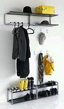IKEA LUSTIFIK wall mountable Tidy Stand Hat Shoe Coat Rack, silver/black