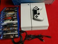 Sony PlayStation 4 PS4 500GB Glacier White Console and controller w/ 10 games