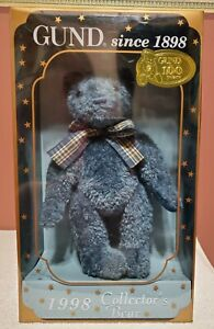 """Gund - 1998 Collectors Bear, LE, Teal Woven Fur, 9"""" tall, Jointed, NRFB, TA"""
