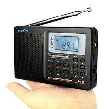 Tivdio V-111 Pocket Radio MW SW FM Stereo DSP World Band Receiver w/ Clock Alarm