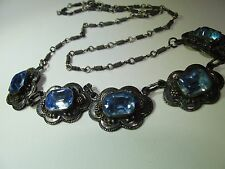 ANTIQUE VICTORIAN STERLING SILVER BLUE GLASS AMAZING NECKLACE SIGNED