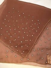 Vintage Emily Wetherby Silk Sheer Chiffon Scarf Brown Rhinestones 22� x 22�